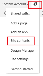 SharePoint Site contents