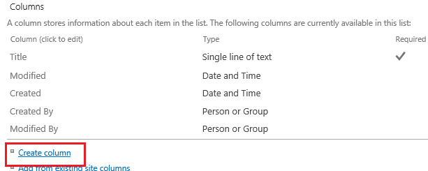 Create Column in SharePoint