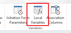 Local Variables in ribbon bar