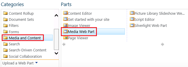 Media Web Part in SharePoint 2013