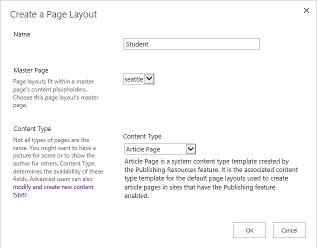 Page Layout in SharePoint 2013